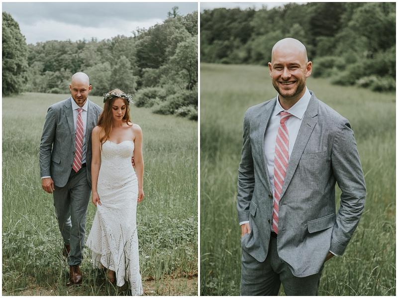 Groom grey suit red tie
