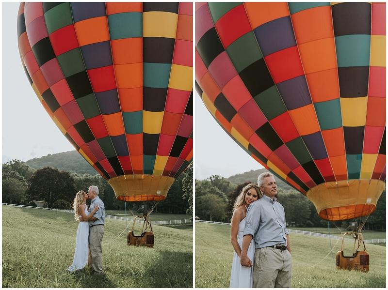 hot air balloon engagement session north carolina