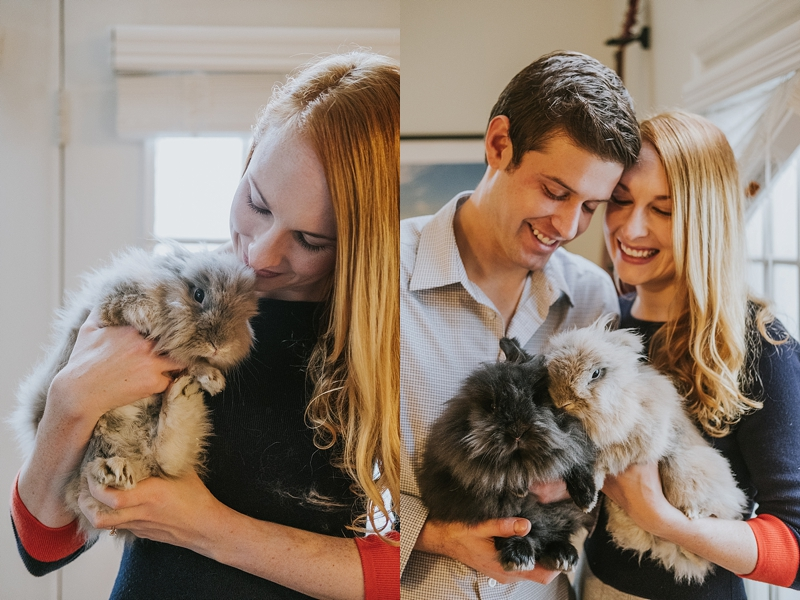 Engagement session with bunnies