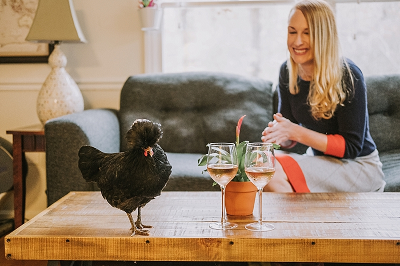 Engagement session with chicken