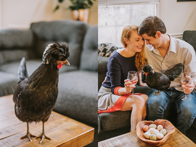 Engagement session with rooster