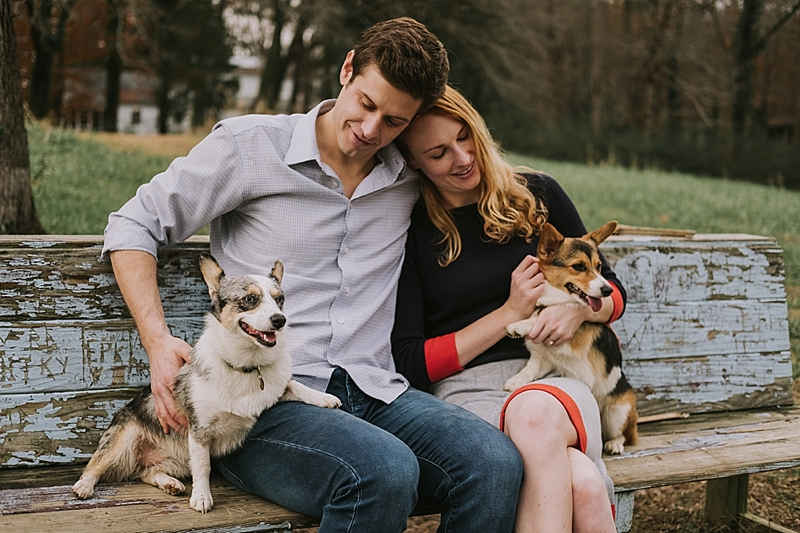 Raleigh engagement session with dogs