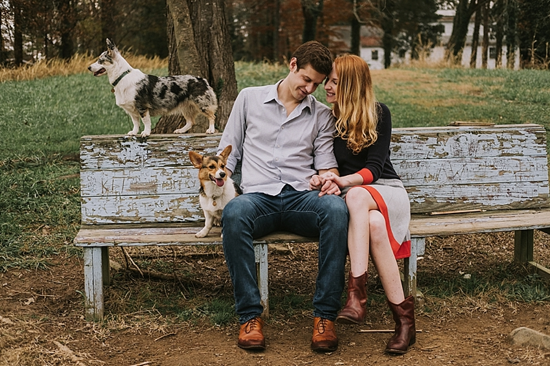 Raleigh engagement session with corgis