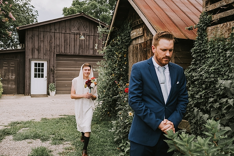 fake first look with groom