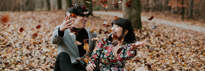 Moody Autumn Engagement Session | Caroline + Kyung |
