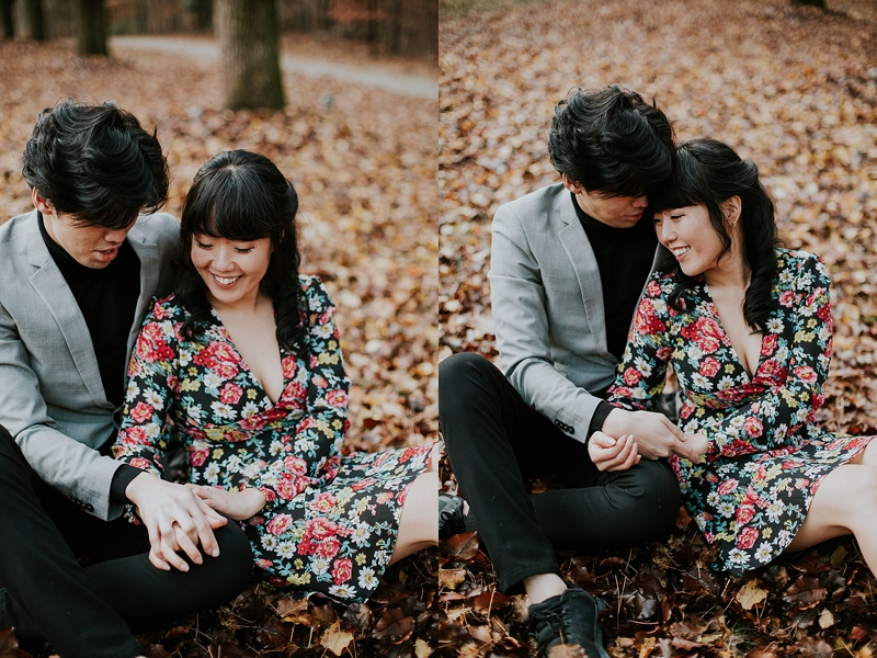 autumn engagement session Raleigh